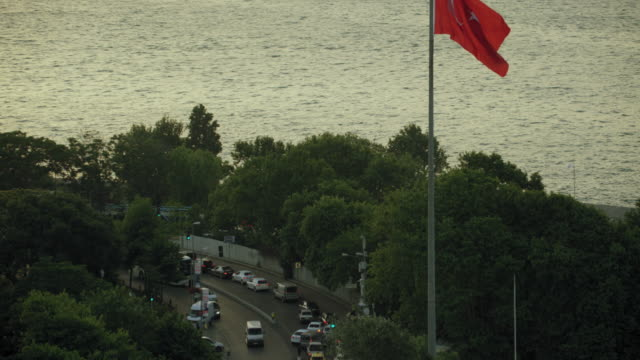 Istanbul Cityscape With Turkish Flag