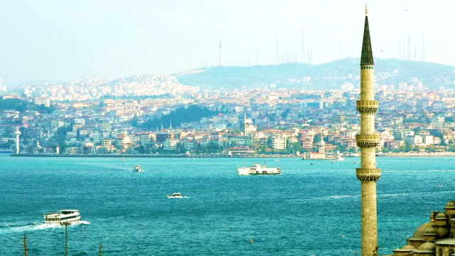 Istanbul daytime Bosphorus River with minaret and boats