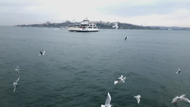istanbul ferry slow motion - eminonu district stock videos and b-roll footage