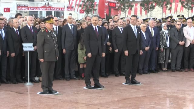 istanbul governor ali yerlikaya 1st army commander general musa avsever and istanbul mayor ekrem imamoglu attend a wreathlaying ceremony at taksim... - 1938 stock videos & royalty-free footage