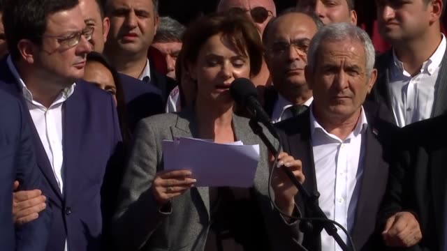 istanbul head of turkey's main opposition republican people's party canan kaftancioglu speaks to the press in istanbul on september 06 2019 after she... - aydın province stock videos and b-roll footage