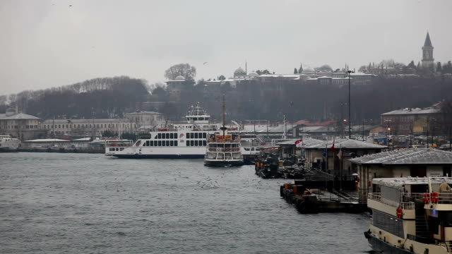 istanbul in winter and eminonu - topkapi palace stock videos and b-roll footage