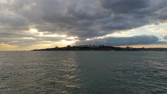 istanbul marmara sea with dramatic sky on sunset - marmara stock videos and b-roll footage