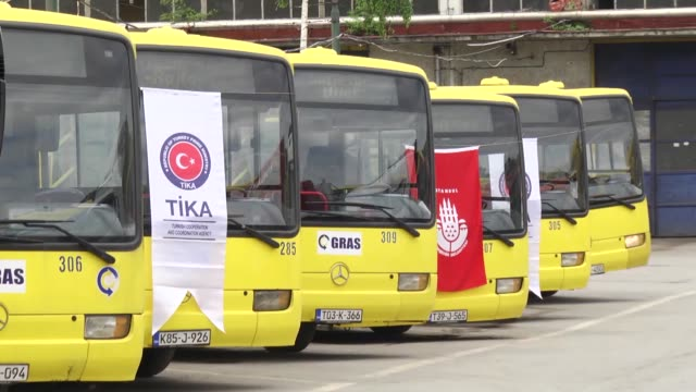 istanbul metropolitan municipality has donated 15 buses to bosnia and herzegovina's capital sarajevo the buses were delivered on tuesday to sarajevo... - gras stock videos and b-roll footage
