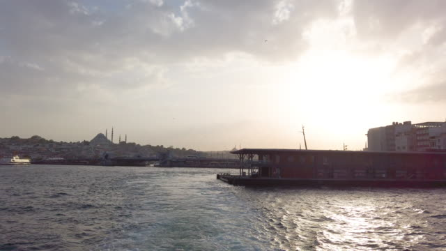 istanbul on marmara sea with dramatic sky on sunset - marmara stock videos and b-roll footage