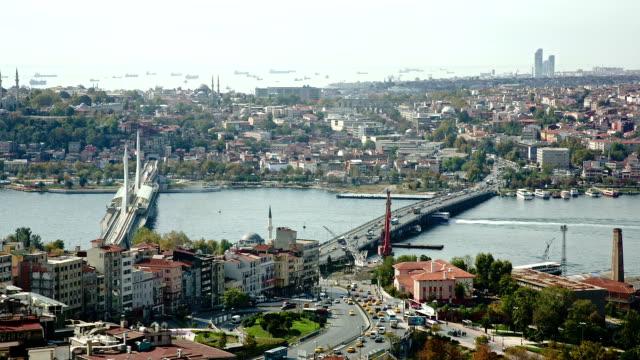istanbul panorama mit dem galataturm - galataturm stock-videos und b-roll-filmmaterial