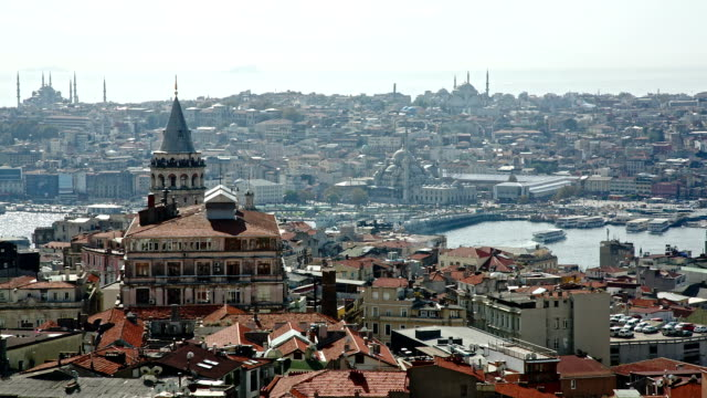 istanbul panorama with galata tower - golden horn istanbul stock videos and b-roll footage