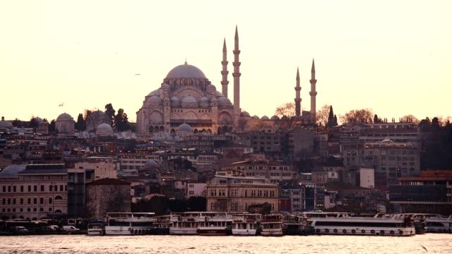 istanbul skyline at dusk - byzantine stock videos & royalty-free footage