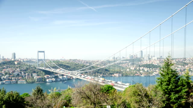 time lapse: istanbul traffic two time lapses - july 15 martyrs' bridge stock videos and b-roll footage