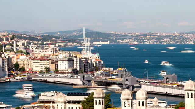 イスタンブール、トルコ**タイムラプス** - イスタンブール 金角湾点の映像素材/bロール