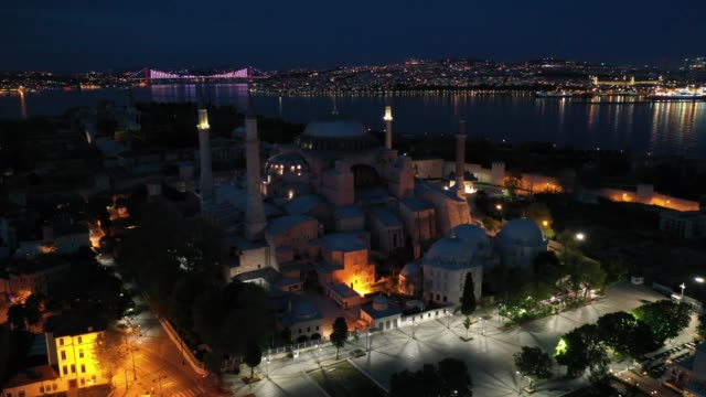 istanbul's famous hagia sophia and surrounding areas are seen empty during a weekend lockdown across istanbul on may 02 in istanbul, turkey. as of... - surrounding stock videos & royalty-free footage