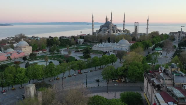 istanbuls's famous blue mosque and surrounding gardens and roads are seen empty on the second day of the holy fasting month of ramadan and the third... - blue mosque stock videos & royalty-free footage