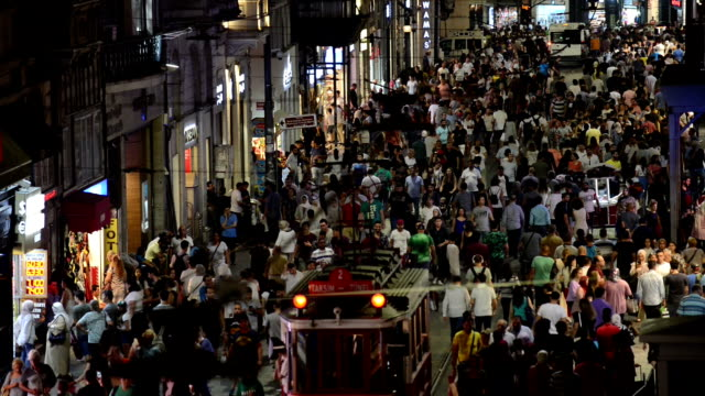 istiklal street at nigt in istanbul - middle east stock videos & royalty-free footage
