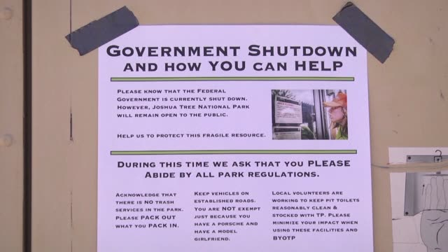it is high season at joshua tree national park in california and to prevent chaos from the partial shutdown of the us federal government volunteers... - government shutdown stock videos & royalty-free footage