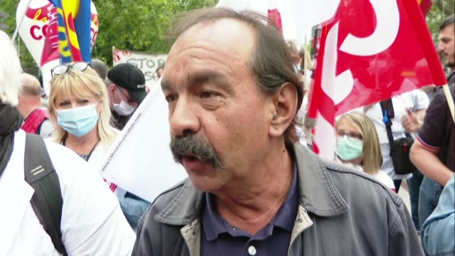 """it is high time to move from diagnosis to solutions,"""" says philippe martinez, secretary general of france's cgt union, as hospital staff protest in... - secretary general stock videos & royalty-free footage"""