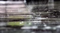 It is raining outside. Rain drops break in a puddle, audio included