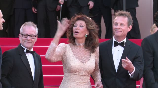 italian actress icon sophia loren and french tennis veteran henri leconte join directors the dardenne brothers on the red carpet at the cannes film... - sophia loren stock videos & royalty-free footage