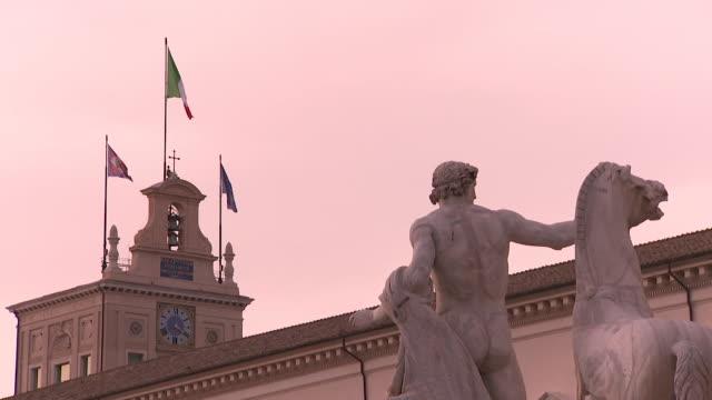 Italian and European Union flags in Rome Italy