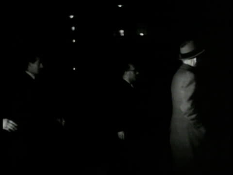 night italian delegate leaving league building men walking in hallway league buildings at night - 1937 stock videos and b-roll footage