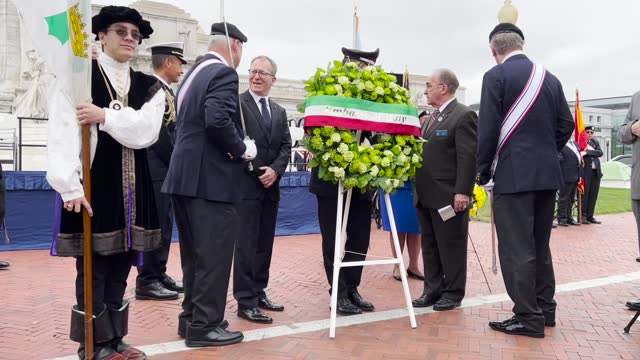 italian deputy chief of mission maurizio greganti presents a wreath during a celebration of the italian explorer christopher columbus at the monument... - christopher columbus explorer stock videos & royalty-free footage