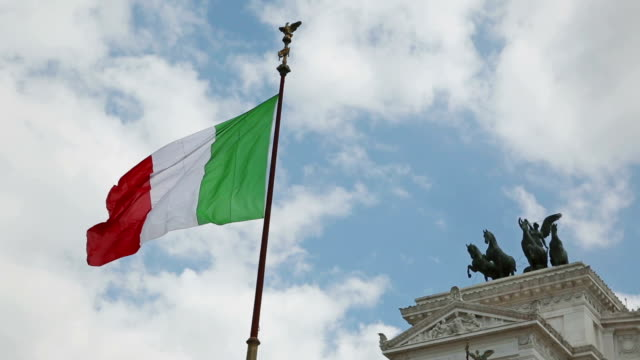 italian flag at vittorio emanuele monument in rome - italian flag stock videos and b-roll footage