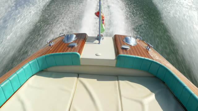 italian flag on a classic luxury wooden runabout boat on an italian lake. - exklusiv stock-videos und b-roll-filmmaterial