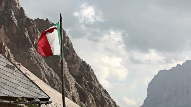 Italian flag waving in the Dolomites
