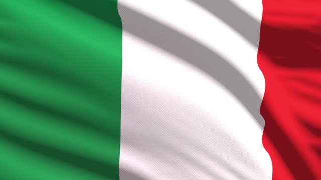 stockvideo's en b-roll-footage met italiaanse vlag die in de wind met hoogst gedetailleerde stoftextuur golft. naadloze lus - italian culture