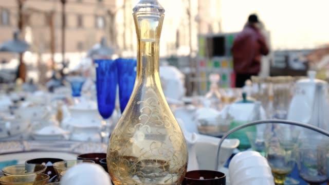italian flea market bottles - flea market stock videos & royalty-free footage