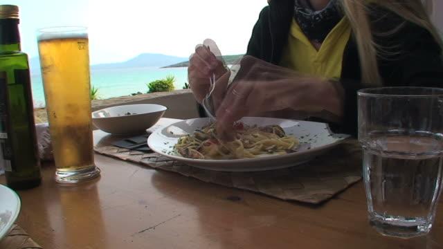 italian food: mediterranean spaghetti - clam seafood stock videos and b-roll footage