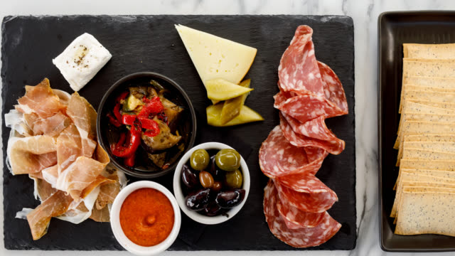 italian food - sopressa and prosciutto platter - lunch break stock videos & royalty-free footage