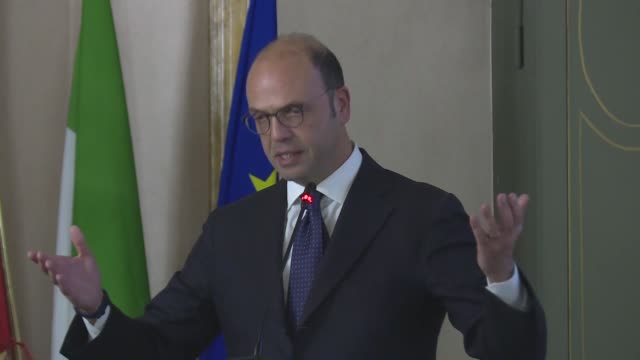 Italian Foreign Minister Angelino Alfano delivers a speech at 10th TurkishItalian Forum alongside his Turkish counterpart Mevlut Cavusoglu on...