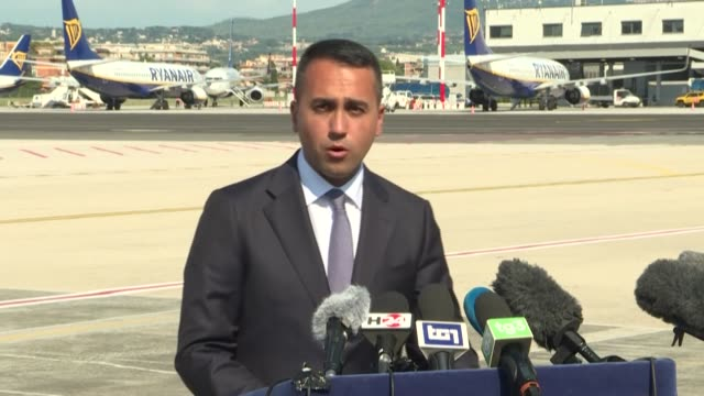 italian foreign minister luigi di maio returns from a visit to tripoli after meeting the head of libya's unity government during a lightning trip... - strongman stock videos & royalty-free footage