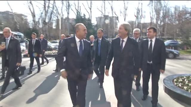 Italian Foreign Minister Paolo Gentiloni meets with Turkish Foreign Minister Mevlut Cavusoglu at the Ministry of Foreign Affairs building in Ankara...