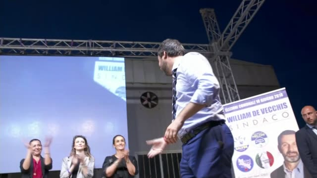 Italian interior minister calls for census of Roma communities ITALY Rome Library footage of Matteo Salvini on stage during election campaign / AT...
