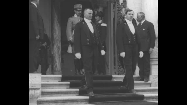 italian king victor emmanuel iii and entourage arrive and depart rome labor conference / french deputy minister albert thomas photoop after... - employment issues video stock e b–roll