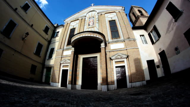 Italian medieval church, panning and tilt camera movement