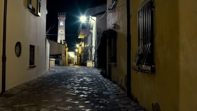 Italian medieval city street night
