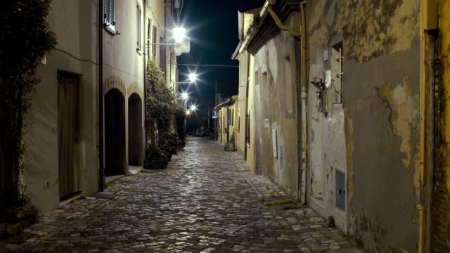 italian medieval city street night - narrow stock videos & royalty-free footage