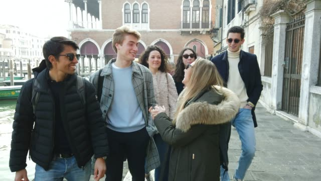 italian millennials students in venice - italy - old town stock videos & royalty-free footage