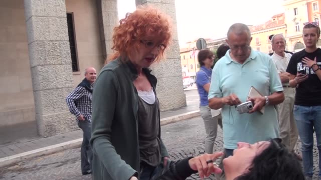 Italian pop singer Fiorella Mannoia in L'Aquila on August 27 2013