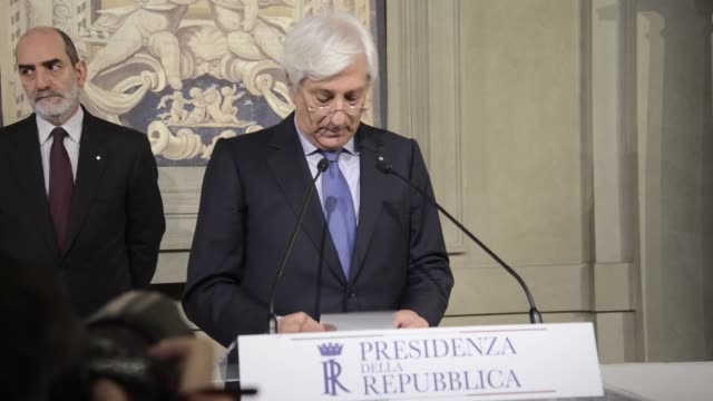 Italian President Sergio Mattarella and Italian Foreign Minister Paolo Gentiloni hold a press conference after their meeting at the Quirinale...