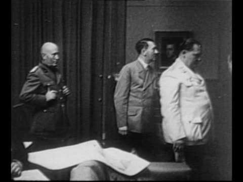 italian prime minister benito mussolini german fuhrer adolf hitler nazi official hermann goering french prime minister edouard daladier and british... - adolf hitler stock videos and b-roll footage