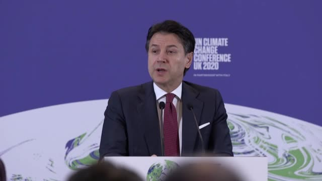 italian prime minister giuseppe conte speaks at the launch of the un climate change conference uk 2020, which is in partnership with italy. - climate change stock videos & royalty-free footage