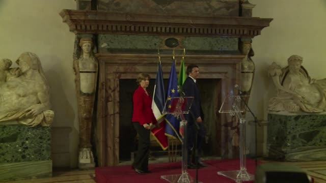 italian prime minister matteo renzi on wednesday offered his condolences to the victims of the terror attack on the offices of french satirical... - materiale cartaceo video stock e b–roll