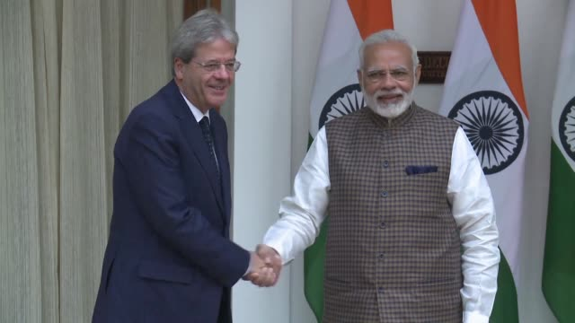 Italian Prime Minister Paolo Gentiloni meets with his Indian counterpart Narendra Modi in New Delhi during his visit to India