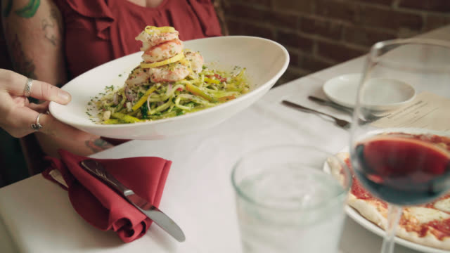 italian seafood dish served at restaurant - plate stock videos & royalty-free footage