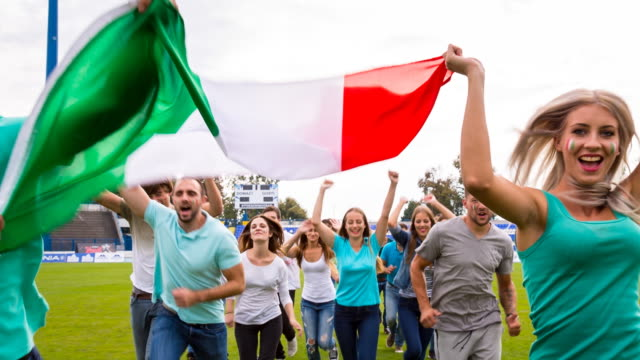 MS italian sport fans at soccer stadium