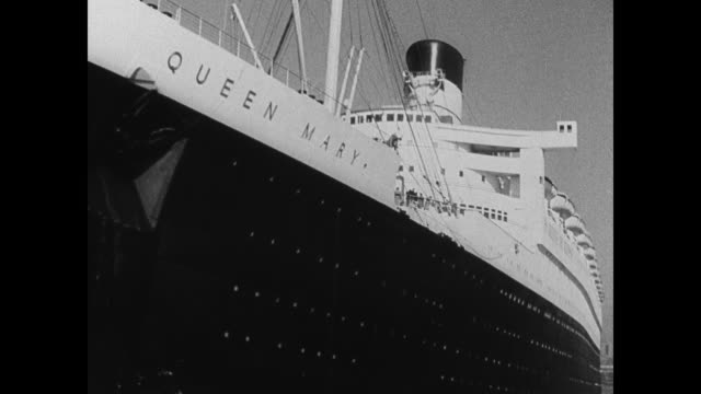 italian ss rex passenger ship docked in port. canard line british ss queen mary in port, bow. ss queen mary on water. upscale lifestyle, the great... - passagier wasserfahrzeug stock-videos und b-roll-filmmaterial
