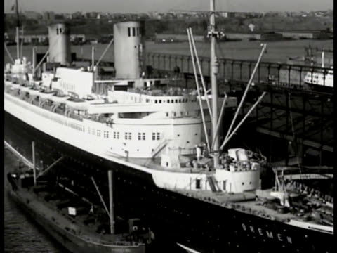 italian ss rex passenger ship docked in port ha ws german ss bremen passenger ship docked in port travel ads ocean liner posters magazine ad page for... - 1935 stock videos & royalty-free footage